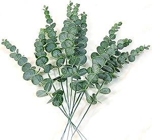 12 Pcs Real Touch Leaf Artificial Eucalyptus Stem Faux Eucalyptuses Wedding Bouquet Centerpiece Home Decor (Green)