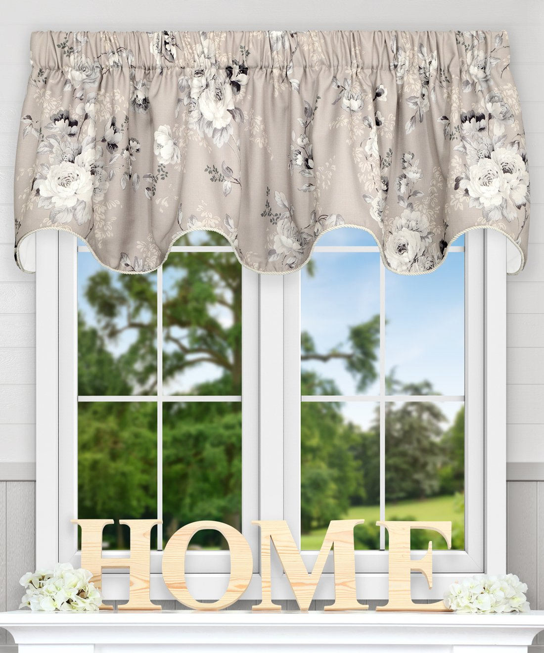 Ellis Curtain Chatsworth Traditional Floral Design (Lined Scallop Valance Grey