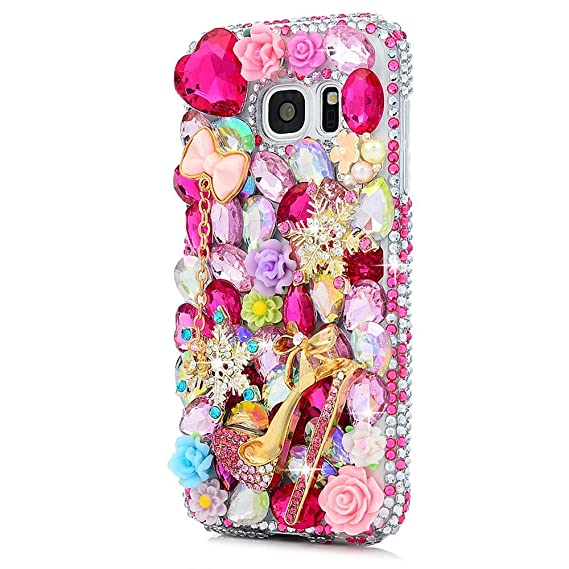 online store 66a80 f3109 STENES Galaxy J3 Prime Case - Stylish - 100+ Bling Crystal - 3D Handmade  Girls High Heel Snow Bowknot Pendant Flowers Design Protective Case for ...