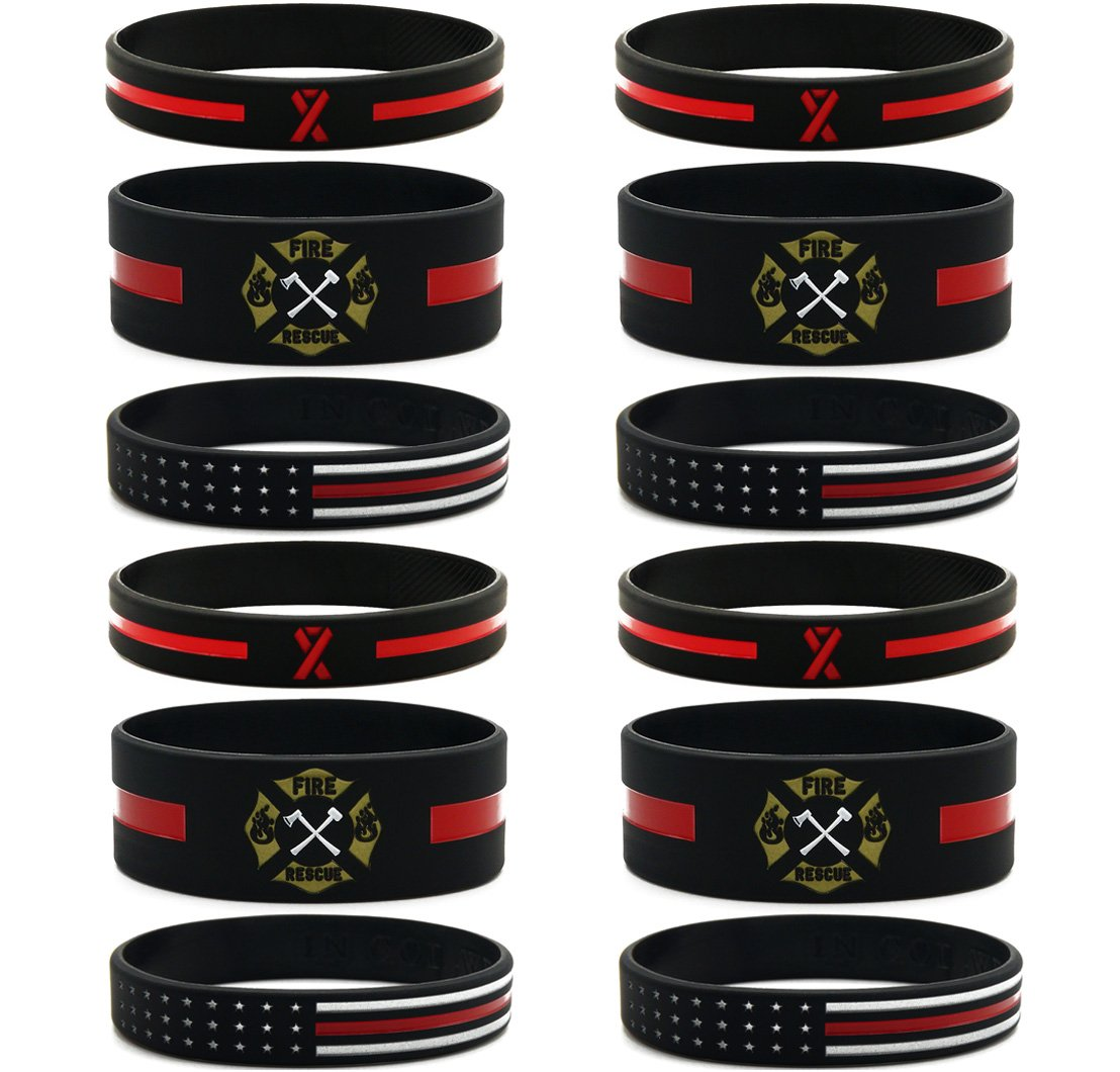 Inkstone (12-pack) Firefighters' Thin Red Line Silicone Bracelets - Wholesale Bulk Pack of Support Wristbands for Firefighters