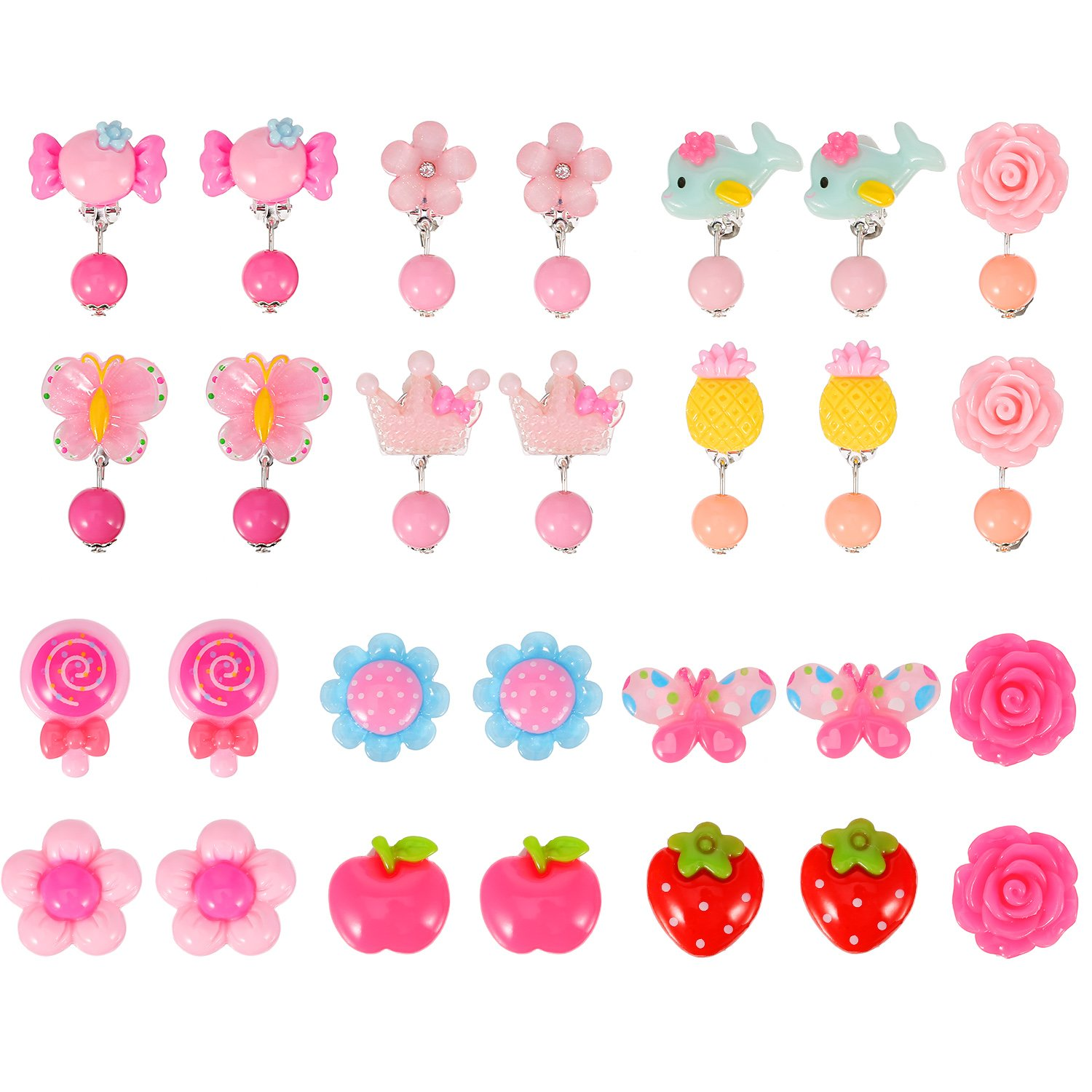 Mtlee 14 Pairs Clip-on Earrings Girls Play Earrings with Different Styles for Party Favor, All Packed in 2 Clear Boxes