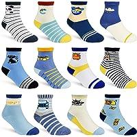 12 Pairs Kids Non Slip Skid Socks Grips Sticky Slippery Cotton Crew Socks For 1-3/3-5/5-7 Years Old Children Youth Boy…