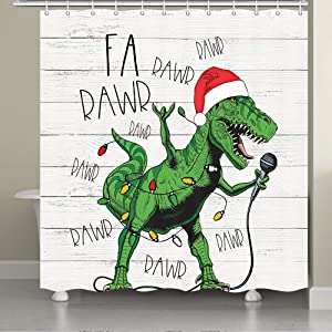 JAWO Funny Christmas Shower Curtain, Cute Dinosaur in Santa Hat Singing Merry Christmas for Kids Children Boy and Girl Shower Curtain, Funny Christmas Bathroom Decor