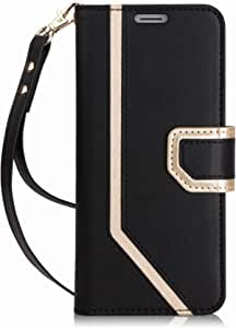 FYY Samsung S9 Plus Case, Galaxy S9 Plus Cover with Makeup Mirror, S9 Plus Leather Wallet Case with Kickstand Feature and Wrist Strap for Samsung Galaxy S9+ Plus Black
