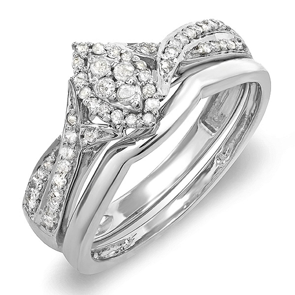 0.33 Carat (ctw) Sterling Silver Round Diamond Ladies Marquise Shape Bridal Promise Engagement Ring Set With Matching Band 1/3 CT (Size 7)