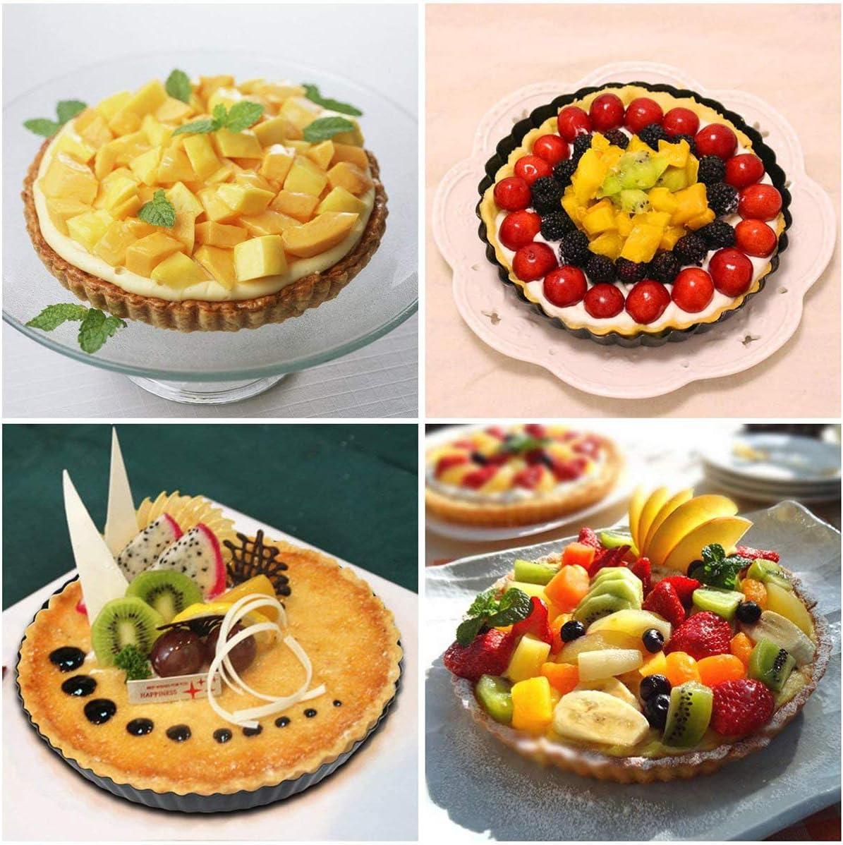 mengger 14Pcs Moule /à Tarte Silicone Plat tartelettes Mini Quiche Moule moulle Rev/êtement Antiadh/ésif pour Tartes G/âteaux Pudding Flan Round Cake Molds