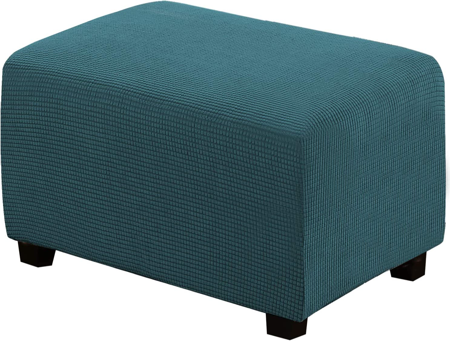 H.VERSAILTEX Ottoman Slipcovers Rectangle Footrest Footstool Protector Covers Stretch Fabric Storage Ottoman Covers, High Spandex Slipcover Machine Washable(Ottoman X-Large, Deep Teal)