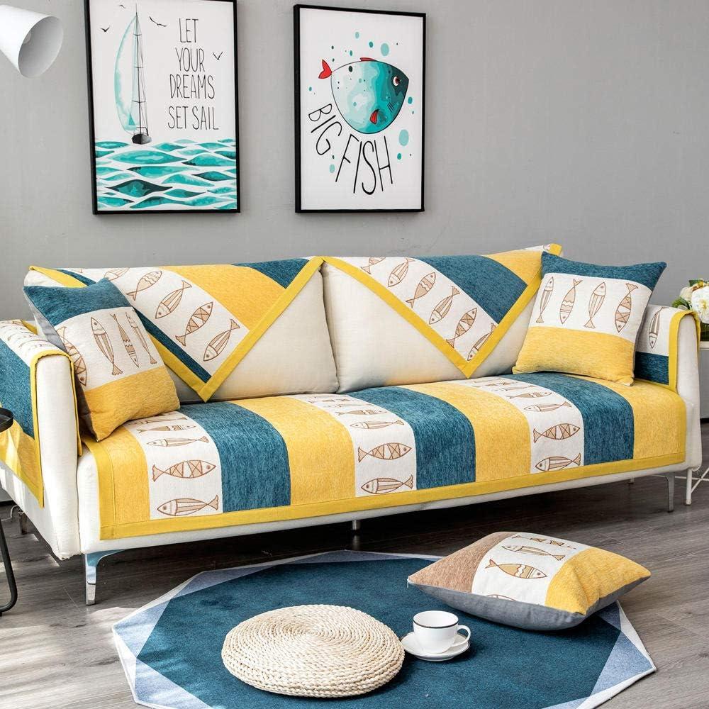 YUTJK Toalla Antideslizante de Franela, cojín de sofá Universal de Cuatro Estaciones, cojín de protección de sofá, Funda de Asiento de Tela/Amarillo Verde