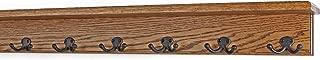 "product image for Oak Shelf Coat Rack with Aged Bronze Double Style Hooks (Chestnut, 31"" with 6 hooks)"
