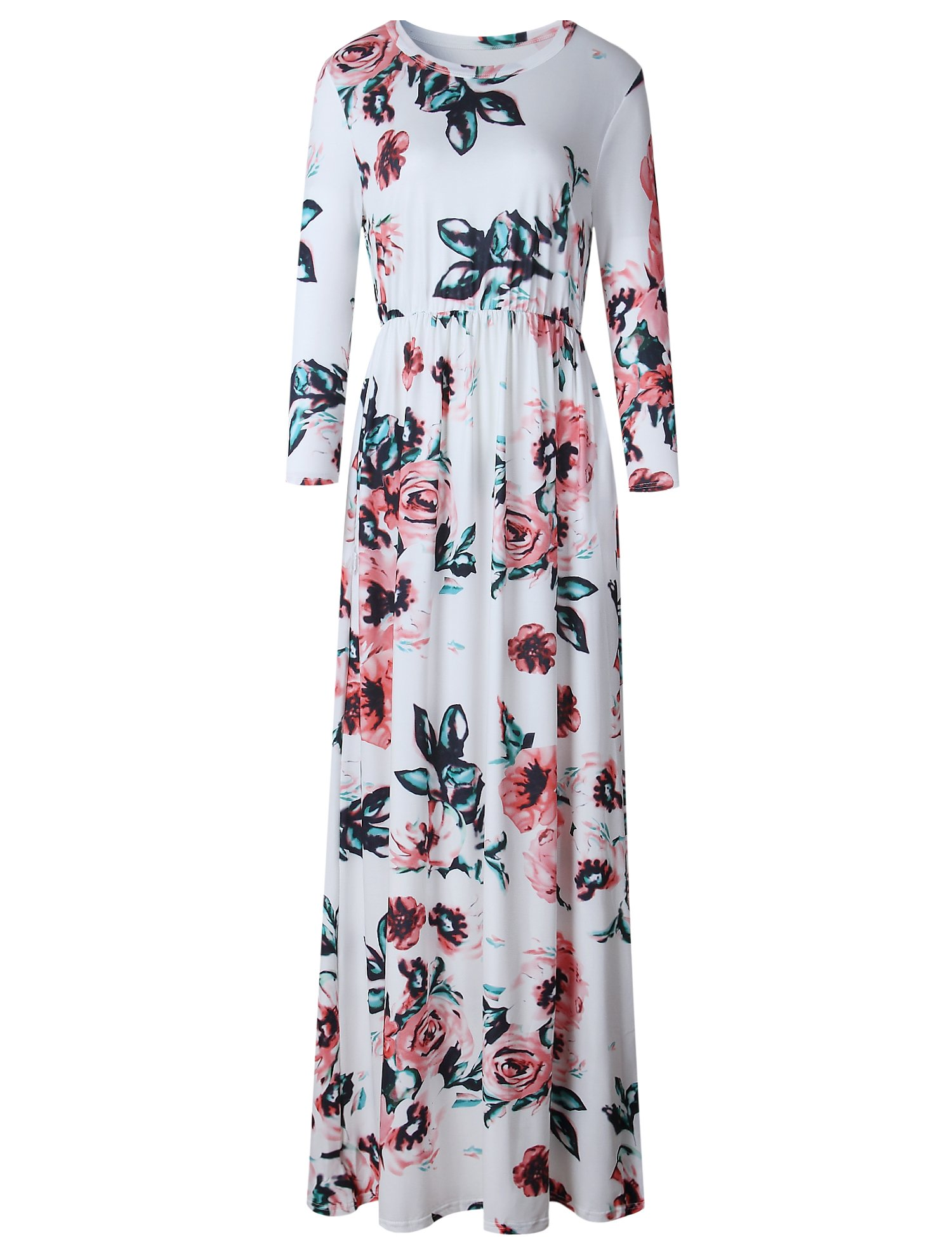 Murimia Women's Floral Print 3/4 Sleeve Empire Flower Maxi Casual Dress With Pocketed, White, Small by Murimia (Image #2)