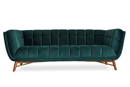 """FINSBURY Green Velvet Sofa - 86"""" Mid-Century Modern Sofa for Living Room -  Tufted"""