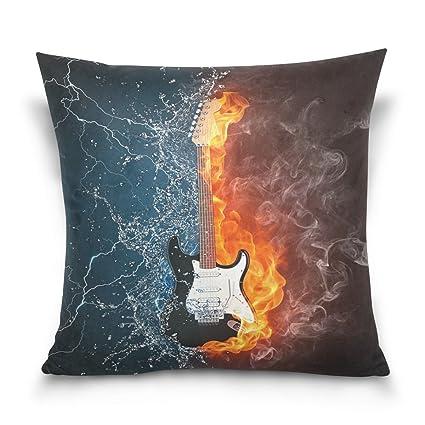 ALAZA Funda de almohada decorativa funda de cojín cuadrada, guitarra eléctrica en fuego y agua abstracto sofá cama funda de almohada funda doble cara: ...