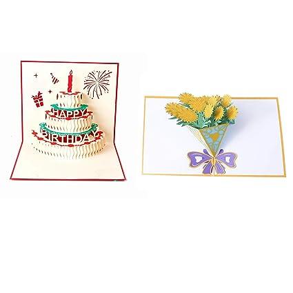 2 Piezas Tarjeta de Cumpleaños Pop Flor del sol 3D / Feliz ...