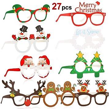 HOWAF 27 Piezas Marco de Gafas de Navidad Gafas photocall navideña Gafas Divertidas, Papá Noel árbol de Navidad Gafas de Disfraces Accesorio de Fiesta ...