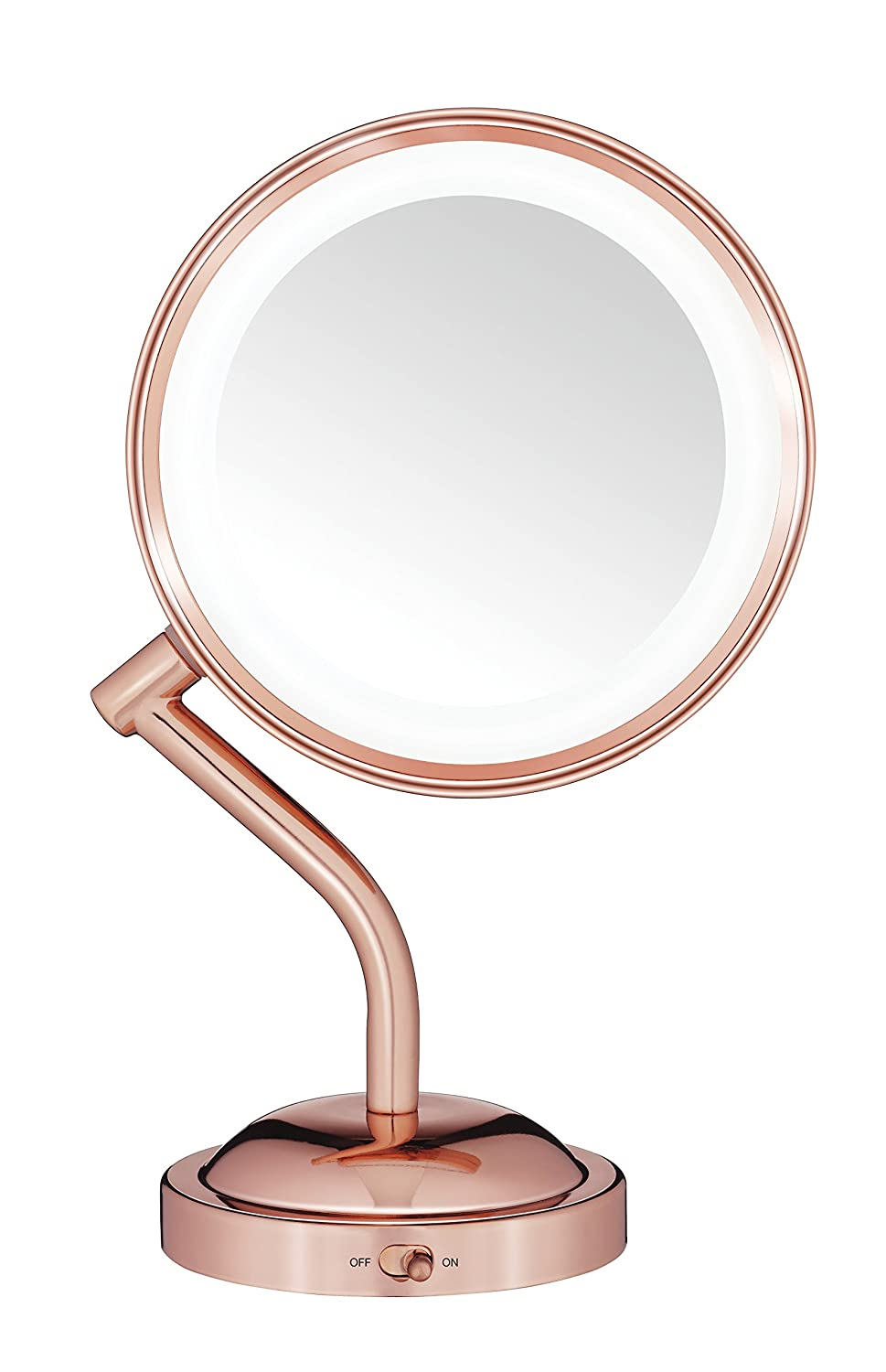 Conair Double-Sided Battery Operated Lighted Makeup Mirror - Lighted Vanity Makeup Mirror with LED Lights; 1x / 5x Magnification; Rose Gold Finish