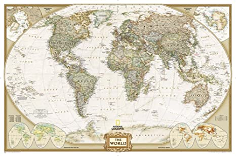 National Geographic   World Executive Map, Enlarged U0026 Laminated Poster By  National Geographic 73 X