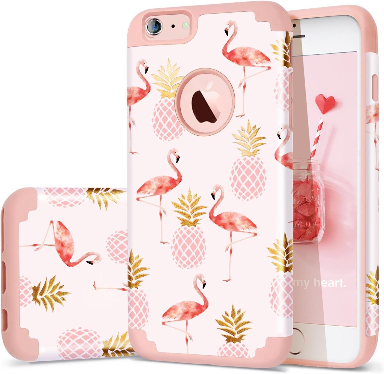 Fingic iPhone 6 Plus Case,iPhone 6s Plus Case Pineapple, 2 in 1 Slim Case Hard PC&Soft Rubber Pineapple&Flamingos Cute Design Case for Girls Protective Cover for iPhone 6/6s Plus,Pineapple/Pink