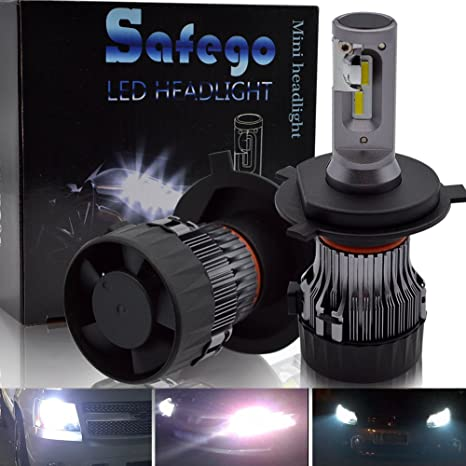 H4 LED Faro Bombillas Kit - Safego Hi/Lo 60W LED CREE Chips 10000LM LED