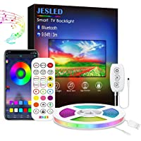 Led Strip Lights Music Sync, JESLED 3m USB LED TV Backlight Kit with IR Remote for 40-60in TV, 16 Color Changing 5050…