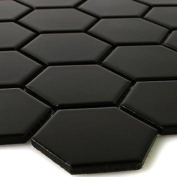 Mosaïque Carrelage Hexagon Céramique Mosaïque Noir Mat Amazonfr - Carrelage hexagonal noir