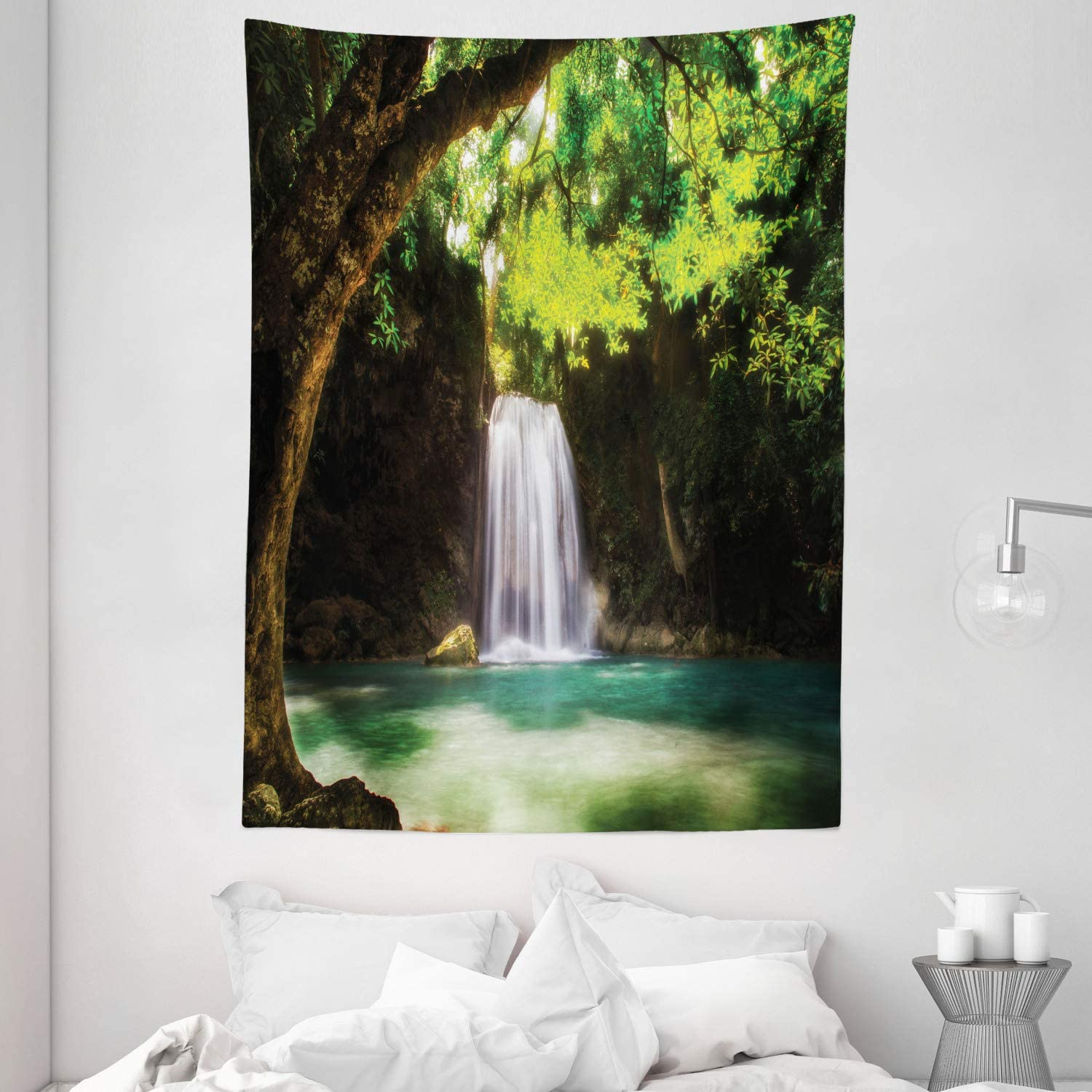 Autumn Forest Waterfall Tapestry For Living Room Bedroom Dorm Wall Hanging Rug