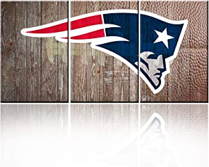 """3 Piece Red Canvas Wall Art New England Patriots Pictures for Living Room American Football Paintings Helmet Rustic Home Decor Ball Court Artwork Framed Ready to Hang Poster and Prints(48""""WX24""""H)"""