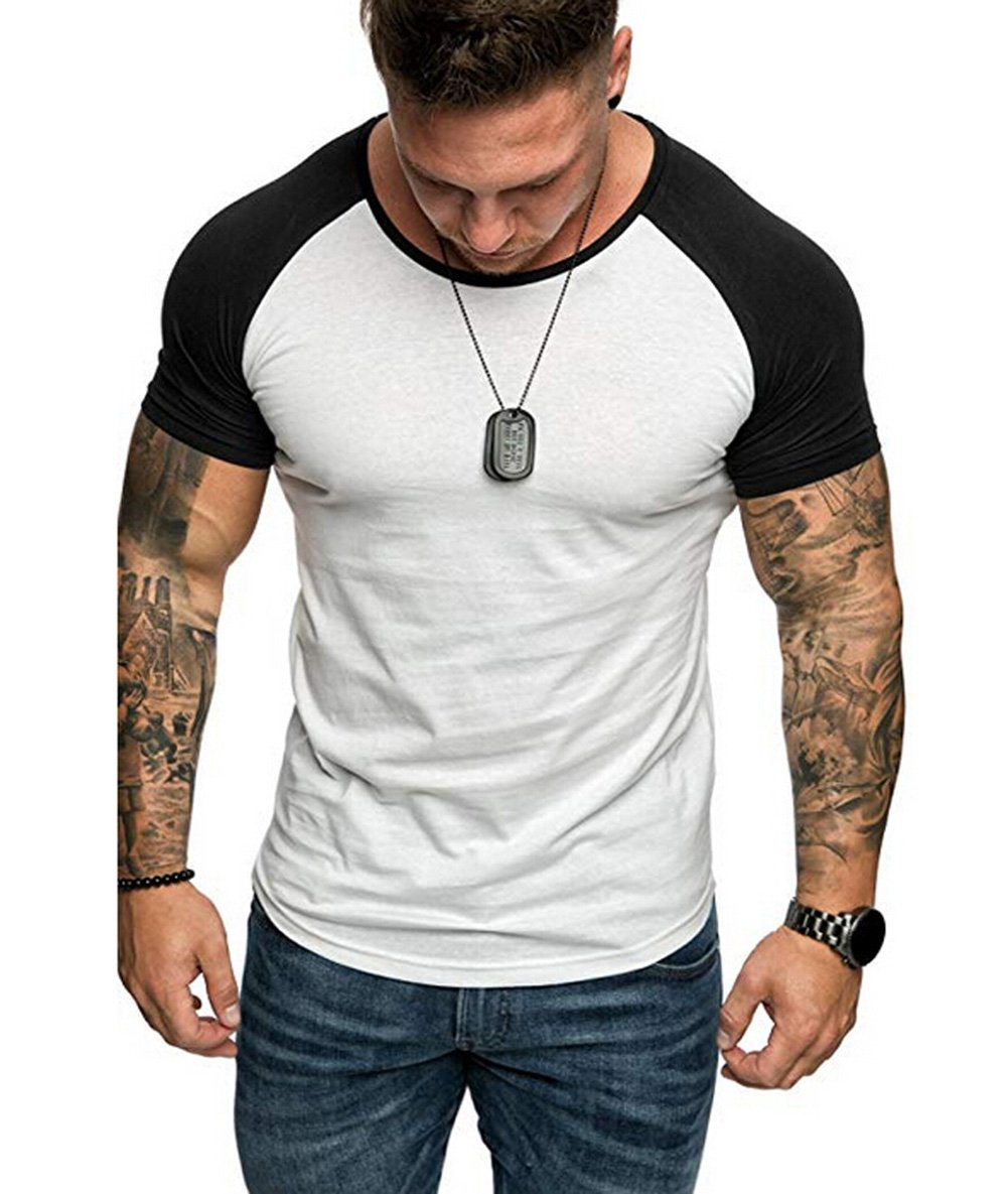 XARAZA Mens Bodybuilding Short Sleeve T-Shirts Muscle Fitness Tee Tops