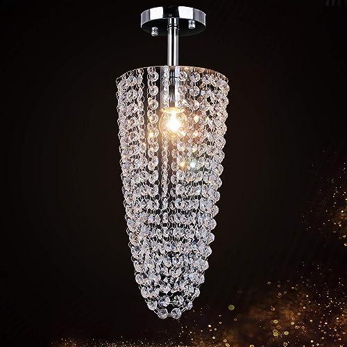 TongLan Crystal Chandelier, 1 Light Flush Mount Ceiling Light, Modern Chandelier Lighting Fixture for Bedroom, Living Room, Dining Room, Hallway