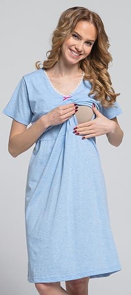 Zeta Ville - Premamá camisón set bata embarazo lactancia de rayas - mujer - 190c: Amazon.es: Ropa y accesorios