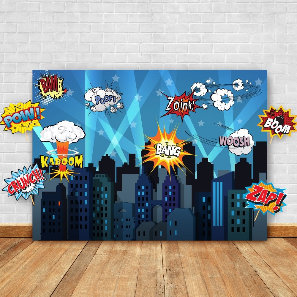 Superhero Cityscape Photography Backdrop and Studio Props DIY Kit. Great as Super Hero City Photo Booth Background – Birthday Party and Event Decorations by Glittery Garden