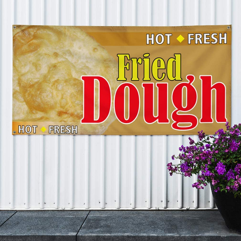 Multiple Sizes Available Set of 3 4 Grommets Vinyl Banner Sign Hot Fresh Fried Dough #1 Style A Outdoor Marketing Advertising Orange 24inx60in