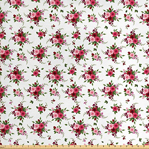 Ambesonne Flowers Fabric by The Yard, Bridal Bouquets Pattern with Roses and Freesia Romantic Victorian Composition, Decorative Fabric for Upholstery and Home Accents, Pink Ruby Green