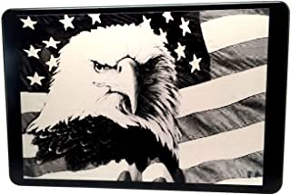 """product image for HMC Billet American Flag with Eagle Laser Engraved Trailer Hitch Cover - 4"""" x 6"""""""