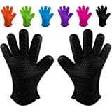 Belmalia 2 Backhandschuhe, Silikon, NEU: noch hitzebeständiger, Grillhandschuhe, Topflappen, Ofenhandschuhe Schwarz