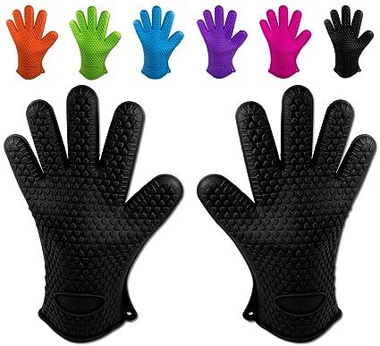 nuovi oggetti prodotti caldi professionale Belmalia 2 guanti da forno in silicone per cucina e griglia, kit, coppia,  presine, guanti da forno Nero