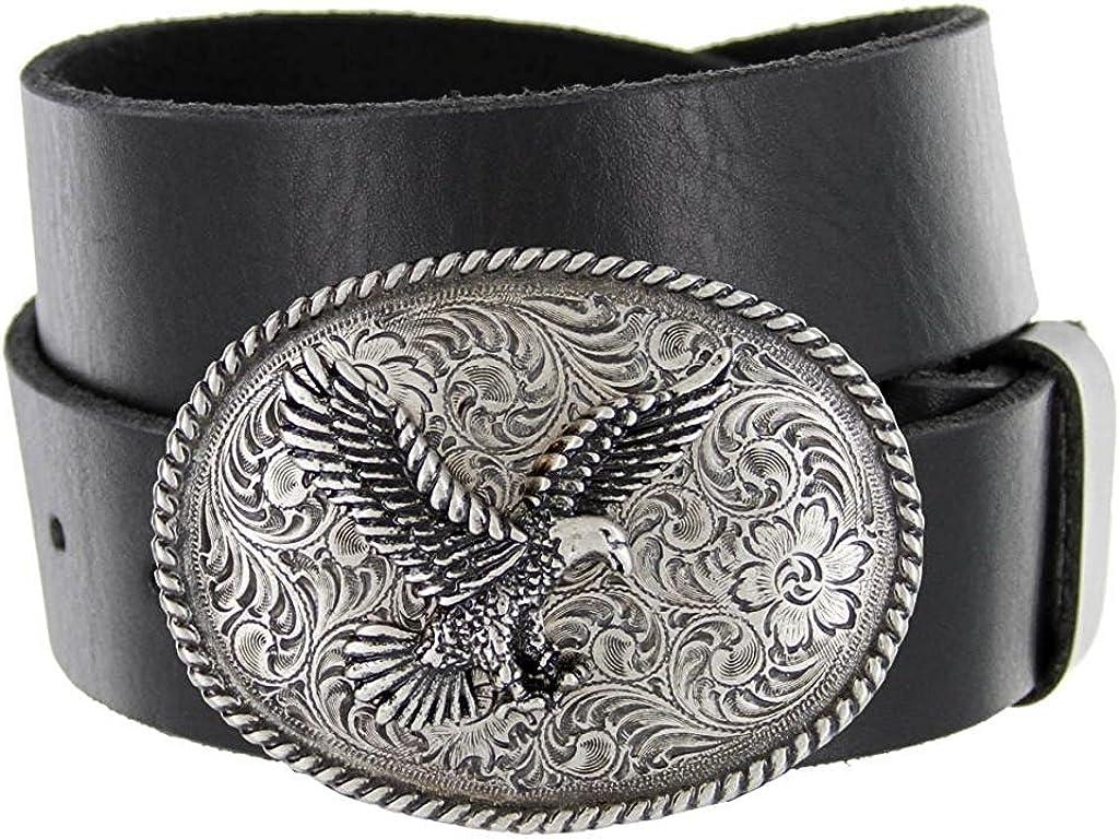 Hagora Men Full Grain Cowhide Leather Silver Eagle Floral Buckle 1.5 Wide Belt