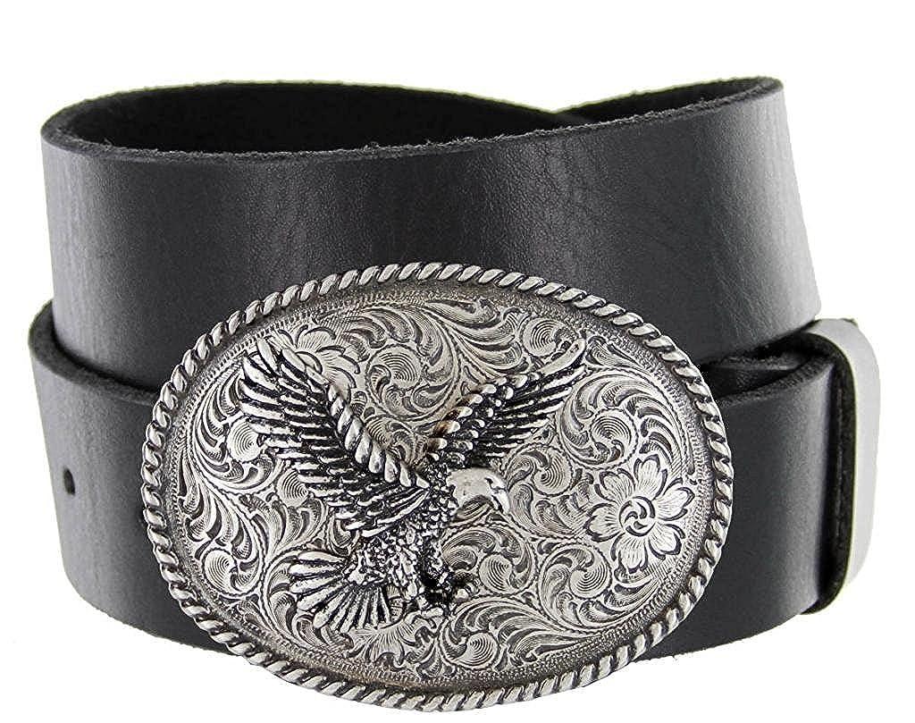 Hagora Men 1.5 Wide Full Grain Genuine Cowhide Eagle Silvered Buckle Belt