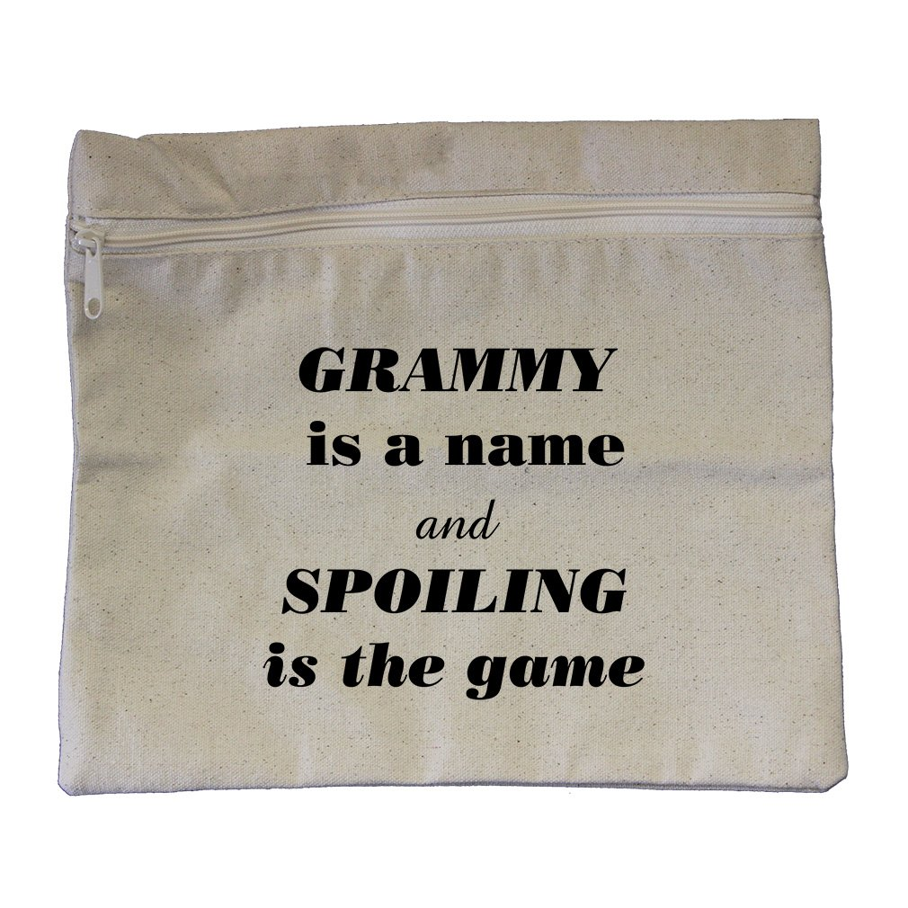 Grammy Is The Name Spoiling Is The Game Canvas Zippered Pouch Makeup Bag
