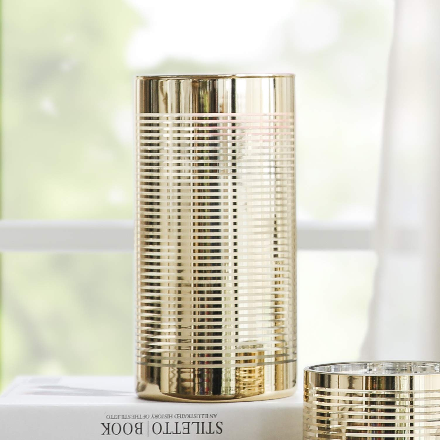 Cyl Home Hurricane Candleholders Clear Glass with Unique Golden Striped Decor Dining Table Centerpieces Cylinder Vases Gifts for Wedding Housewarming Christmas Party,7.9'' Height.