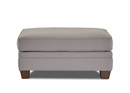 Klaussner Home Furnishings Paxton Accent Ottoman, 27 L x 42 W x 21 H, Dove