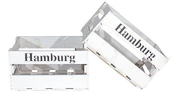 Amazonde 2er Set Neue Weiße Weinkiste Mit Aufdruck Hamburg