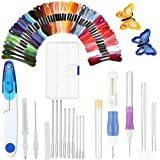 EXTSUD Embroidery Pen Kit, Embroidery Pen Punch Needle Craft Tool Including 50 Color Threads, Scissors with Case and 9 Pieces Large-Eye Blunt Needles for DIY Sewing Cross Stitching