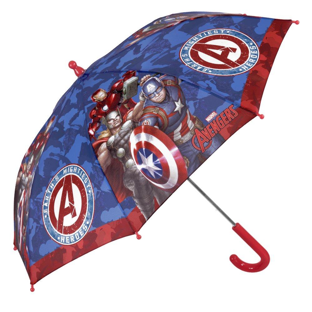 Parapluie Marvel Avengers Enfant - Parapluie Canne Garçon Iron Man, Captain America et Thor - Solide, Antivent et Long - Ouverture de securité - 3/6 Ans - Bleu - Diamètre 76 cm - Perletti 75329