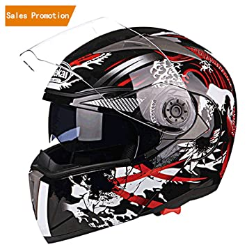 JIEKAI JK-105 Full Face Motorcycle Flip Up Motorbike Street Bike Moped Dual Visor Helmet