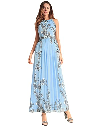 8d807e1f7e7 Women's Sleeveless Halter Neck Vintage Floral Print Chiffon Maxi Dress with  Belt Blue S