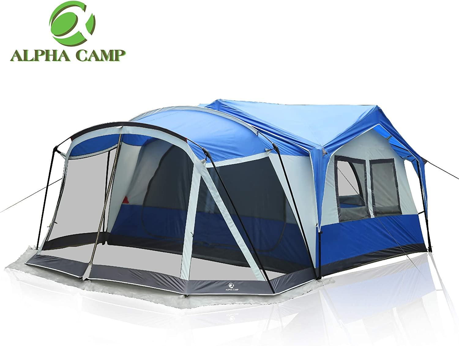 ALPHA CAMP 10-12 Person Family Camping Tent with Screen Room Cabin Tent Design – 19 x 12