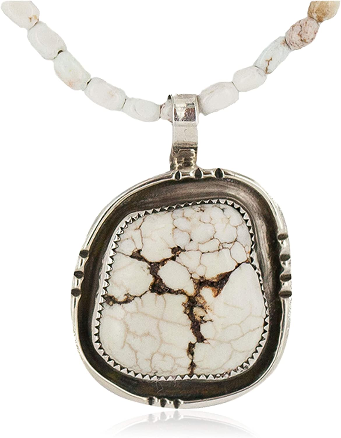 $470Tag Silver Certified Navajo Natural White Buffalo Native Necklace 18280-3-15975-8 Made by Loma Siiva