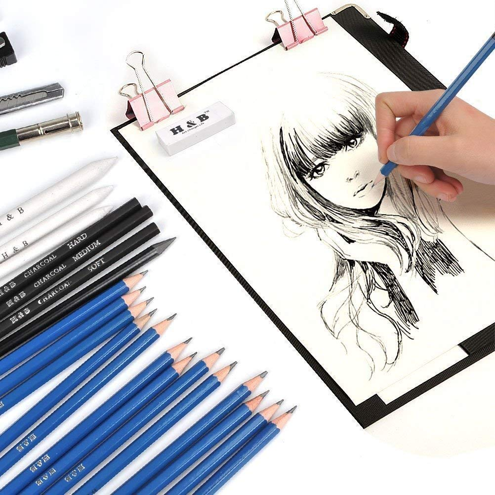 Set di Matita Professionale Set di Grafite di Carbonio Matite di Legno Matite di Disegno Artistico Fornire a Artista Professionale e Principianti