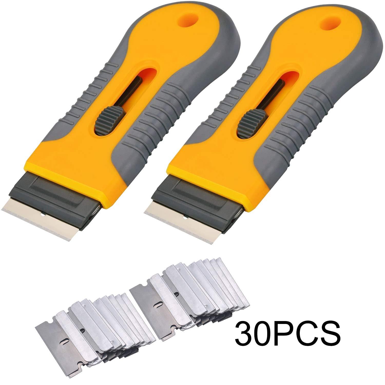 2pcs Razor Blade Scraper Tool Glass Ceramic Metal Scraper - Sticker Glue Paint Adhesive Decal Scraper+30pcs Carbon Steel Blades by yudeke