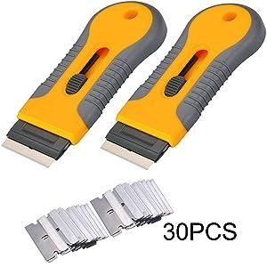 2pcs Razor Blade Scraper Tool Glass Ceramic Metal Scraper - Sticker Glue Paint Adhesive Decal Scraper+30pcs Carbon Steel Blades